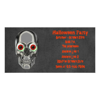 Skull Eyeballs Halloween Party Invite Photo Greeting Card