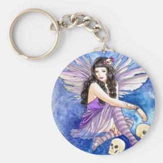 Skull Fairy, gothic dark fantasy purple moth art Keychains