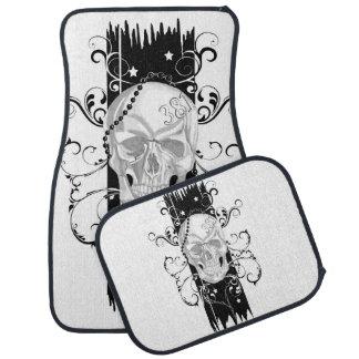 Skull & Filigree Black and white Car Mat Set
