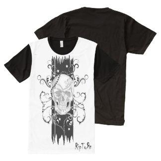 Skull & Filigree Black and white T-Shirt. Mens All-Over Print T-Shirt