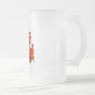 Skull fire frosted glass mug