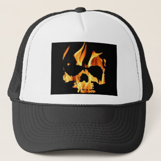 skull fire trucker hat