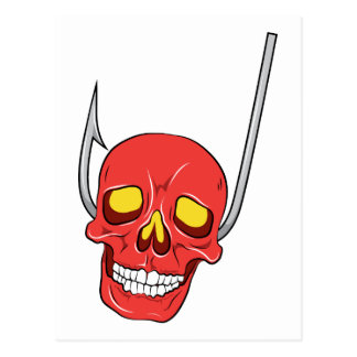 Skull ~ Fish Hook Tattoo Skull Fantasy Art Postcard