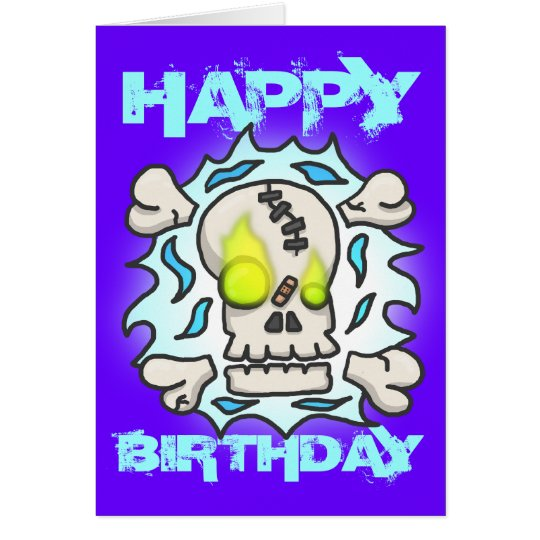 Skull Flame Birthday Card