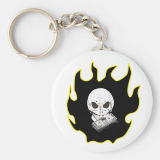 Skull Flame Basic Round Button Key Ring