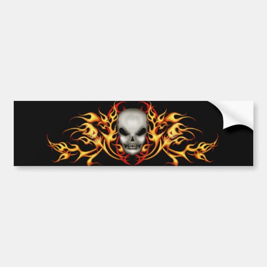 Skull Flames Bumper Sticker