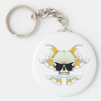 skull flames basic round button key ring