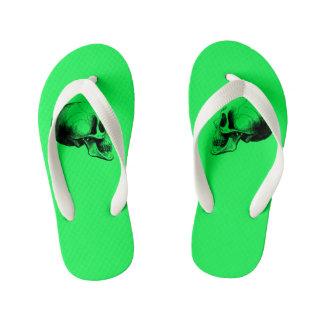 Skull Flip Flop Sandals Kid,Green Flip Flops