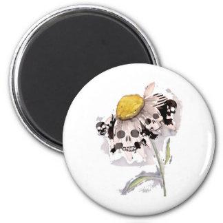 Skull Flower 6 Cm Round Magnet