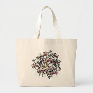 Skull flower vine large tote bag