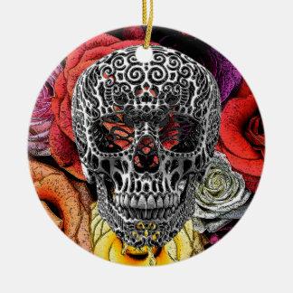 Skull Flowers Christmas Ornament