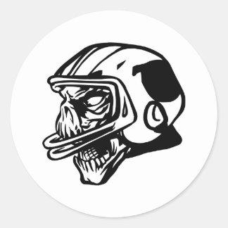 Skull Football Player Classic Round Sticker