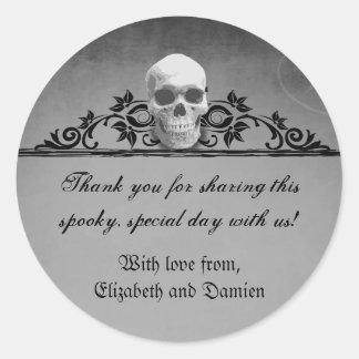 Skull Frame Halloween Wedding Round Sticker