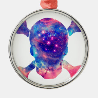 Skull Galaxy Silver-Colored Round Decoration