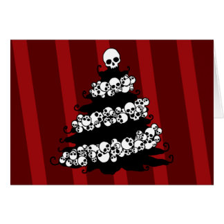 Skull Garland Christmas Tree Card