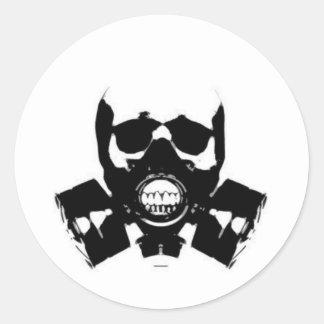 skull-gas-mask-bones round sticker