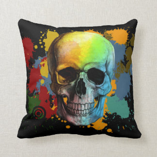 skull graffiti style cushion