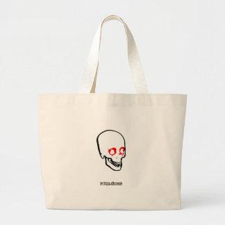 Skull Graphic White Canvas Bag