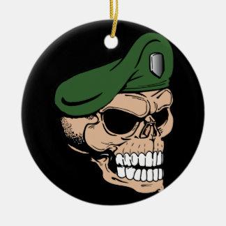 Skull Green Beret Christmas Ornament
