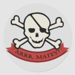 Skull - Grey Classic Round Sticker, Glossy Round Sticker