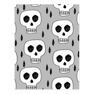 Skull Grey October Halloween / Andrea Lauren Postcard