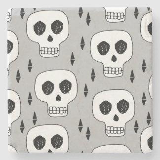 Skull Grey October Halloween / Andrea Lauren Stone Beverage Coaster