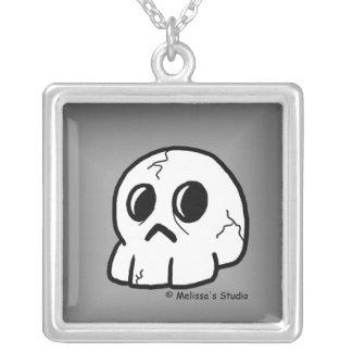 Skull (grey) square pendant necklace