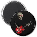 Skull Guitar Player 6 Cm Round Magnet