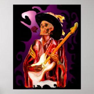 Skull guitar player fantasy art poster