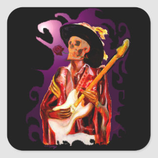 Skull guitar player fantasy art square sticker