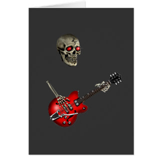 Skull Guitar Player Greeting Card