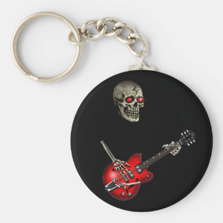 Skull Guitar Player Key Ring