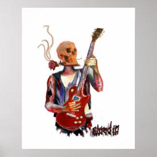 Skull Guitar player music art fantasy Poster
