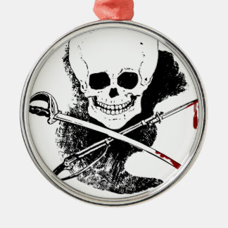 Skull Gun Sword and Blood Silver-Colored Round Decoration