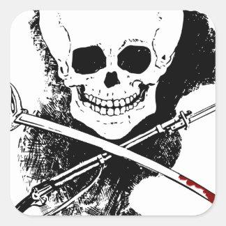 Skull Gun Sword and Blood Square Sticker