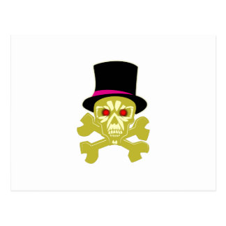 Skull head cylinder hat skull with top has postcard