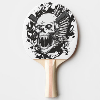 skull head hunter graffiti ping pong paddle