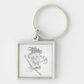 skull head Silver-Colored square key ring