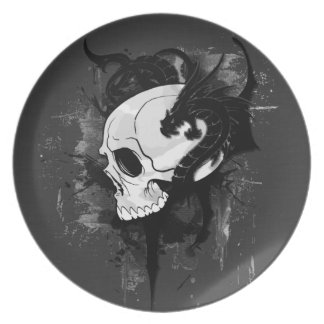 skull head with dragon graffiti plate