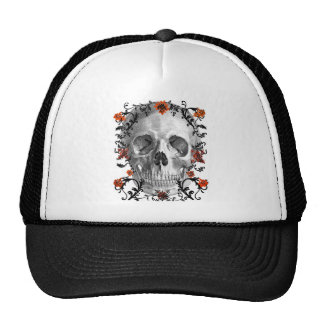 SKULL HEAD WITH VINES AND FLOWERS PRINT HATS