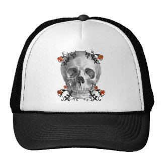 SKULL HEAD WITH VINES VINTAGE AND FLORAL PRINT CAP