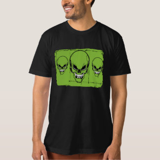 skull heads on green background tee shirts