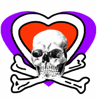 Skull Heart & Bones White The MUSEUM Zazzle Gifts Photo Sculpture Badge