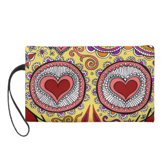 Skull Heart Eyes Bag - Clutch Cosmetic Accessory Wristlet Purses