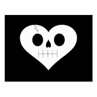 Skull Heart Face Postcard