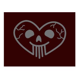Skull Heart Grey Postcard