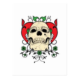 Skull Heart Grunge Postcard