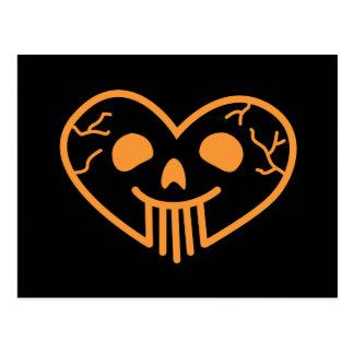 Skull Heart Orange Postcard
