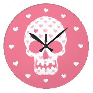 Skull Heart Pattern Round Clocks