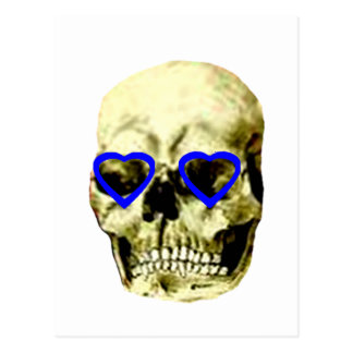 Skull Hearts Blue The MUSEUM Zazzle Gifts Postcard